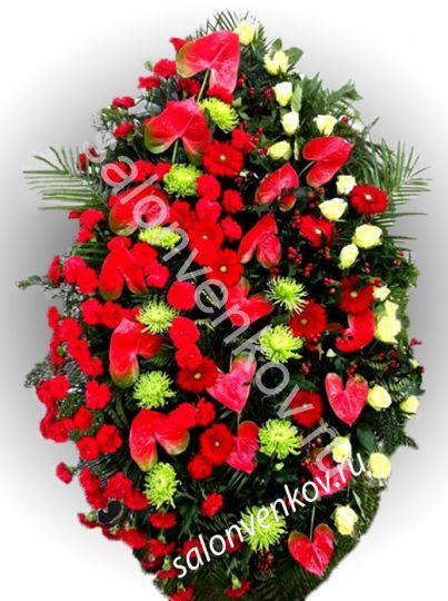 Элитный траурный венок из живых цветов №4, РАЗМЕР 80см,120см,140см,170см