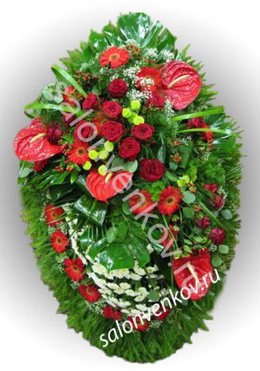 Элитный траурный венок из живых цветов №6, РАЗМЕР 100см,120см,140см,170см