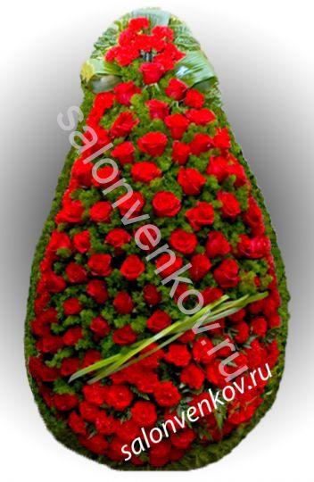 Элитный траурный венок из живых цветов №8, РАЗМЕР 100см,120см,140см,170см