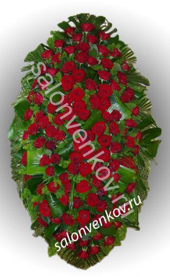 Элитный траурный венок из живых цветов №9, РАЗМЕР 80см,120см,140см,170см