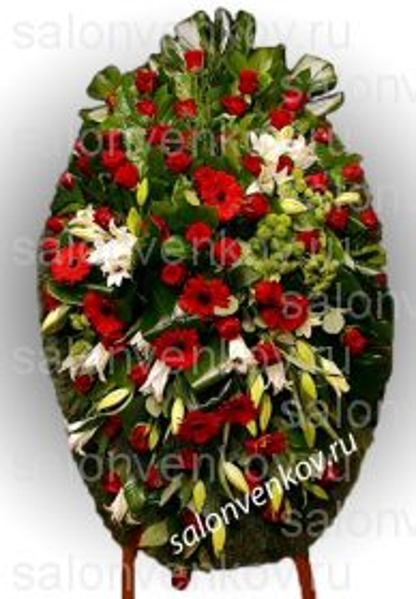 Элитный траурный венок из живых цветов №10, РАЗМЕР 80см,120см,140см,170см