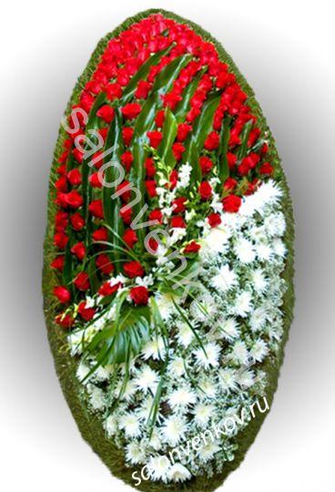 Элитный траурный венок из живых цветов №11, РАЗМЕР 80см,120см,140см,170см