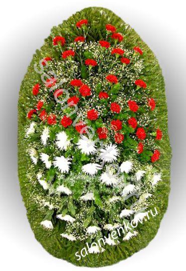 Элитный траурный венок из живых цветов №13, РАЗМЕР 80см,120см,140см,170см