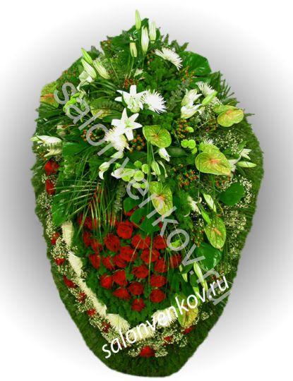 Элитный траурный венок из живых цветов №14, РАЗМЕР 80см,120см,140см,170см