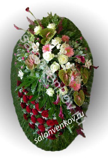 Элитный траурный венок из живых цветов №15, РАЗМЕР 80см,120см,140см,170см