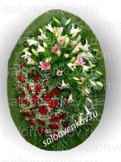 Элитный траурный венок из живых цветов №16, РАЗМЕР 80см,120см,140см,170см