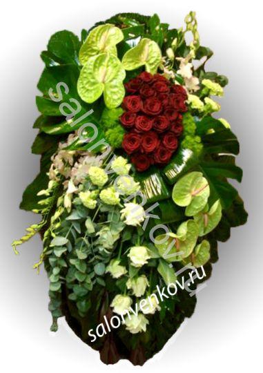 Элитный траурный венок из живых цветов №17, РАЗМЕР 80см,120см,140см,170см