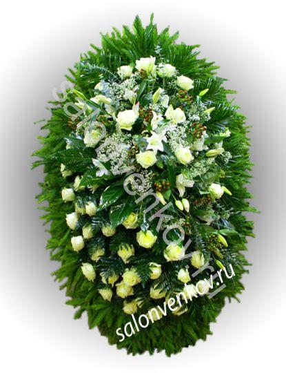 Элитный траурный венок из живых цветов №20, РАЗМЕР 80см,120см,140см,170см