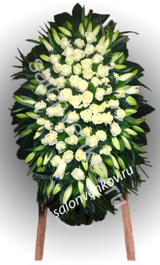 Элитный траурный венок из живых цветов №21, РАЗМЕР 100см,120см,140см,170см