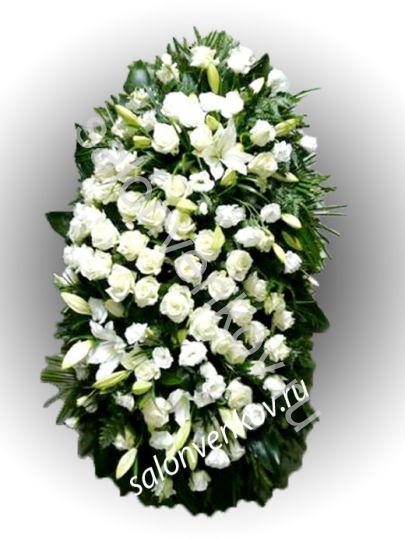 Элитный траурный венок из живых цветов №22, РАЗМЕР 100см,120см,140см,170см