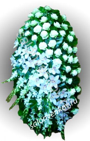 Элитный траурный венок из живых цветов №23, РАЗМЕР 80см,120см,140см,170см