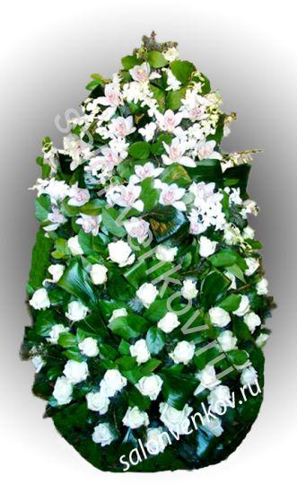 Элитный траурный венок из живых цветов №24, РАЗМЕР 100см,120см,140см,170см