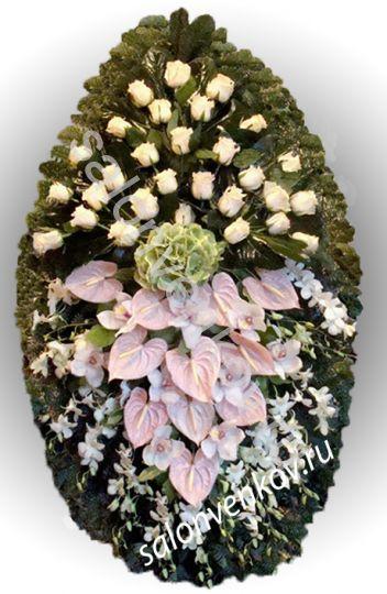 Элитный траурный венок из живых цветов №25, РАЗМЕР 80см,120см,140см,170см