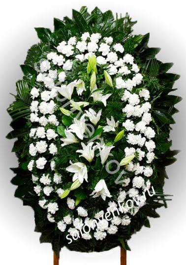Элитный траурный венок из живых цветов №29, РАЗМЕР 80см,120см,140см,170см