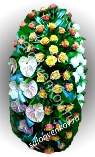 Элитный траурный венок из живых цветов №30, РАЗМЕР 80см,120см,140см,170см