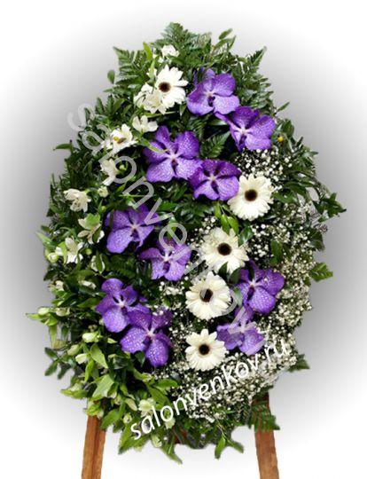 Элитный траурный венок из живых цветов №34, РАЗМЕР 80см,120см