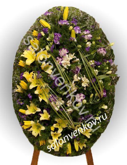 Элитный траурный венок из живых цветов №35, РАЗМЕР 80см,120см,140см