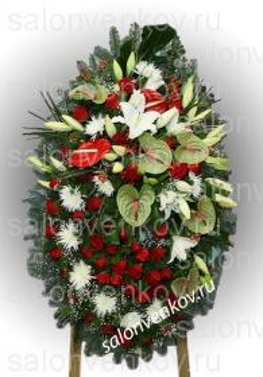 Элитный траурный венок из живых цветов №42, РАЗМЕР 80см,120см,140см,170см