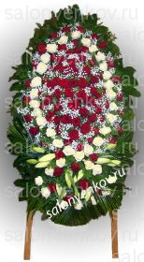 Элитный траурный венок из живых цветов №44, РАЗМЕР 100см,120см,140см,170см