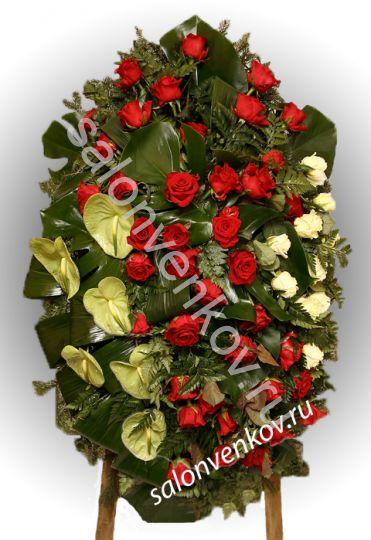 Элитный траурный венок из живых цветов №49, РАЗМЕР 100см,120см,140см,170см