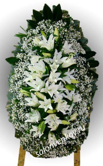 Элитный траурный венок из живых цветов №52 80см-170см