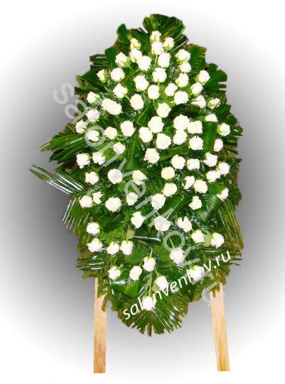Элитный траурный венок из живых цветов №72, РАЗМЕР 100см,120см,140см,170см