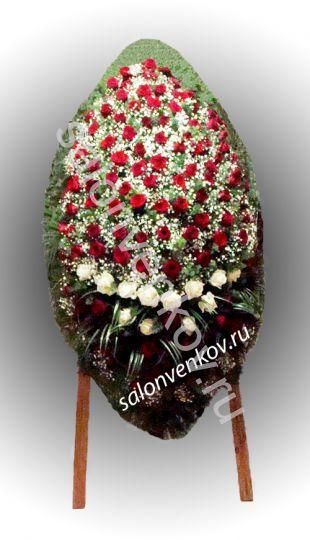 Элитный траурный венок из живых цветов №74, РАЗМЕР 100см,120см,140см,170см
