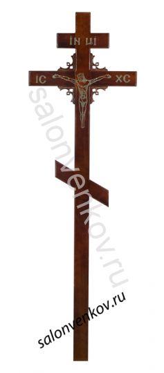 """Крест на могилу деревянный сосна """"Угловой узор"""" 210см"""