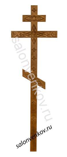 Крест на могилу деревянный сосна Прямой с декором 210см состаренный