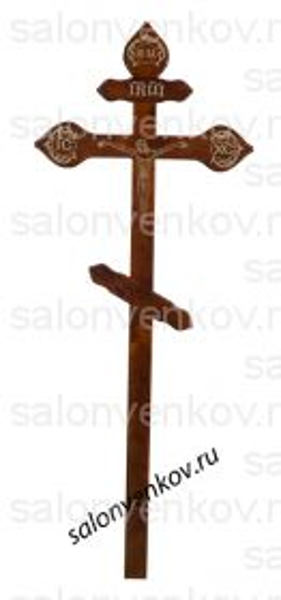 """Крест на могилу деревянный сосна """"Фигурный с распятием""""  220см темный"""