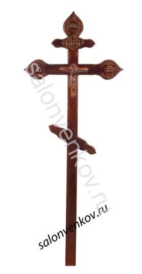 """Крест на могилу деревянный сосна """"Резной фигурный с орнаментом""""  220см темный"""
