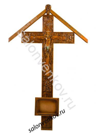 """Крест на могилу деревянный эксклюзивный из сосны """"Резной №2""""  200см с крышкой"""