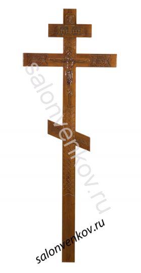 """Крест на могилу деревянный эксклюзивный из сосны """"Резной №3""""  260см без крышки"""